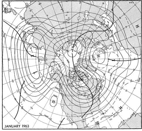 700 hPa mean height in January.