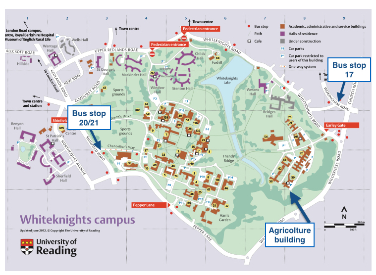Reading University Campus Map Department of Meteorology, University of Reading
